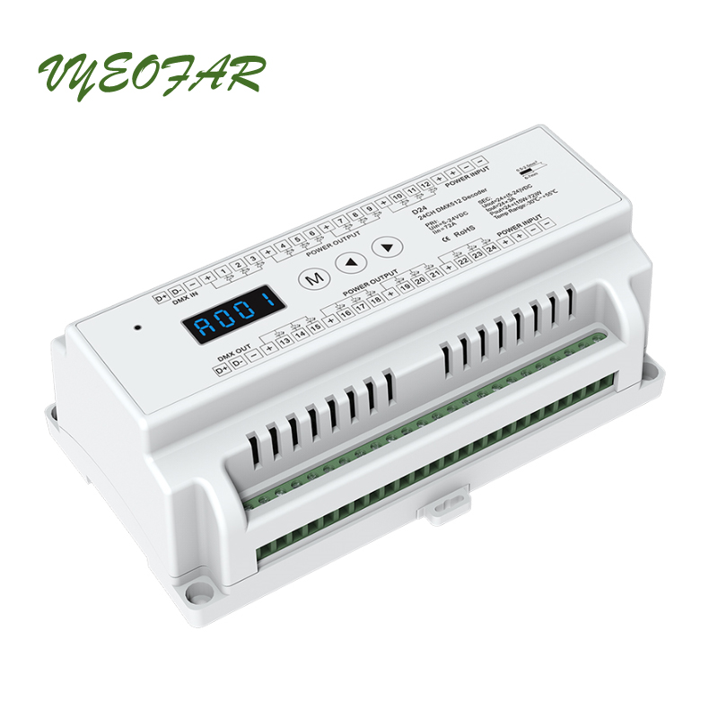 LED DMX décodeur DC12V-24 V entrée; 3A * 24CH Max 72A 1728 W sortie RGB/RGBW vert terminal connecteur écran LED DMX512 CV décodeur