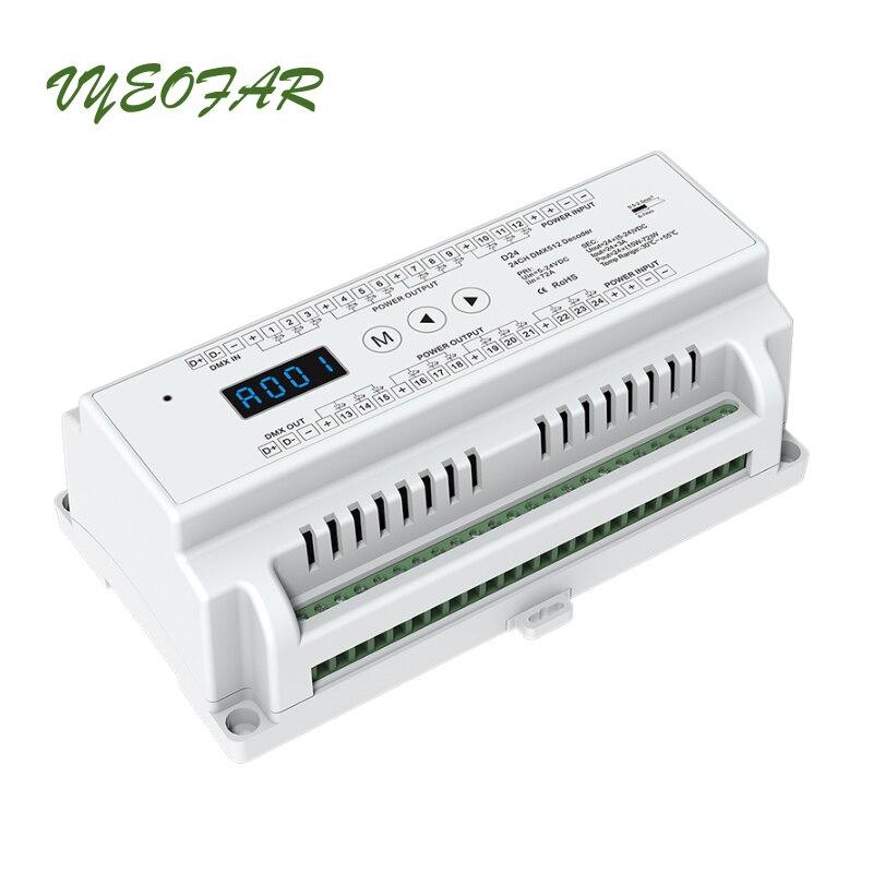 Led DMX Decoder DC12V-24 V in ingresso; 3A * 24CH Max 72A 1728 W di uscita RGB/RGBW Connettore terminale Verde Schermo A LED DMX512 CV DecoderLed DMX Decoder DC12V-24 V in ingresso; 3A * 24CH Max 72A 1728 W di uscita RGB/RGBW Connettore terminale Verde Schermo A LED DMX512 CV Decoder