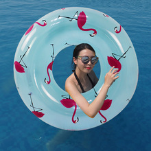 INS HOT Flamingo Print Pool Tube 105CM Giant Women Swimming Ring Inflatable Float Outdoor Summer Water Party Toys Air Mattress