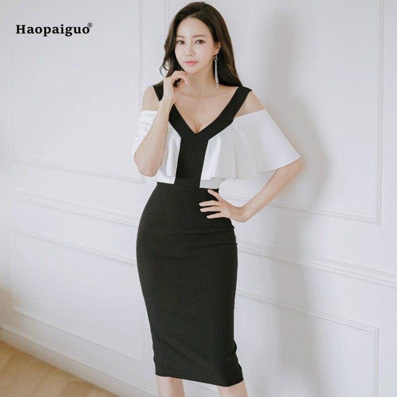 Vestido de tubo de retazos de talla grande 2019 para mujer