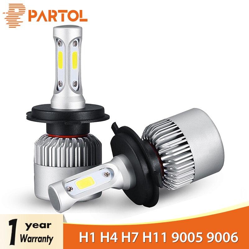 Partol S2 H4 H7 H13 H11 H1 9005 9006 H3 9004 9007 9012 Coche LED Faro Bombillas 72W 8000LM COB Faro Automóvil 6500K 12V