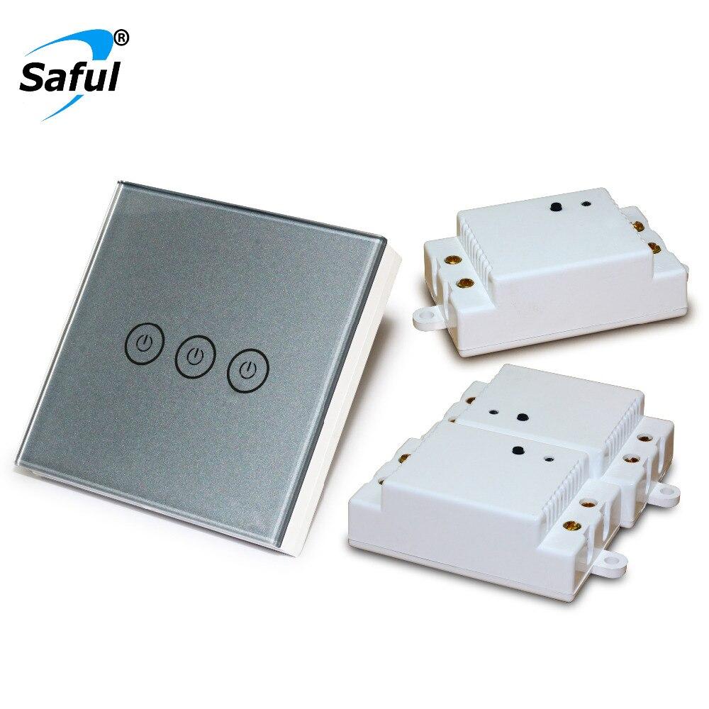 Saful Mur Lumière sans fil Tactile Interrupteur 3 Gang 3 Voies Smart accueil commutateur Longue Distance avec 3 Récepteurs Tactile Commutateur Livraison Shipipng
