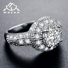 MDEAN blanco y rosa de oro de Color AAA Zircon boda anillos redondos para las mujeres accesorios de la joyería de la boda Bague Bijoux tamaño 5 -12 H1022