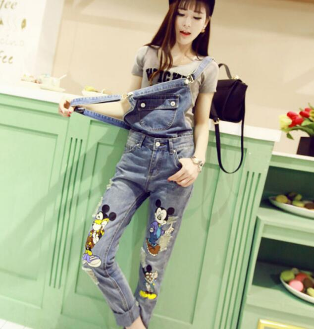 Women's Clothing Bottoms 2019 New Spring Heavy Stereo Cartoon Sequins Diamond Loose Jeans Jumpsuit Overalls Loose Denim Trousers Students Rompers