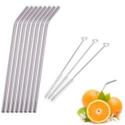 1/2/4/6/8 unids/lote de paja de acero inoxidable reutilizable curvada recta con 1/2/3 juego de brochas limpiadoras