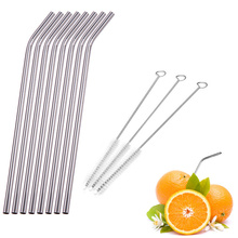 1/2/4/6/8Pcs/lot Reusable Stainless Steel Drinking Straw Metal Straight Curved with 1/2/3 Cleaner Brush Kit Home Bar Drinkware