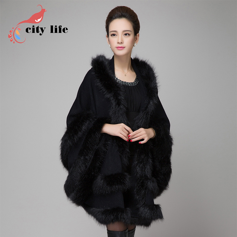 Hooded Fur Collar Cape Coat Women Shawls Cloak Double-Deck Wool Jacket Knitted Faux Fox Fur Long European Black Big Size Casacos