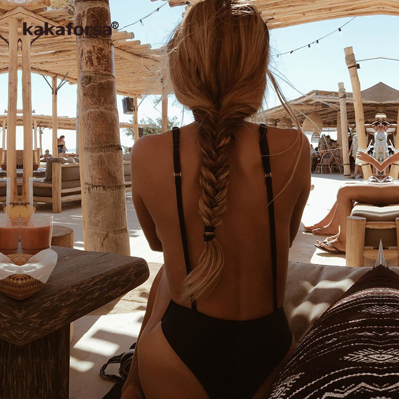 Kakaforsa Sexy One Piece Swimsuit Backless Thong Swimwear Women 2018 Solid Spaghetti Strap Bathing Suit Beach Maillot De Bain solid color backless sexy style spaghetti straps dress for women