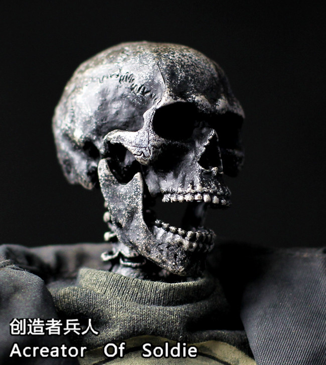 1/6 Soldier Scene Furniture Accessories 3A Style Skeleton Head Carved with Cervical Spine Suitable for All HT 3A Fonts die shi spot burning the soul of a model burns 1 6 head carved figures are base contains mask