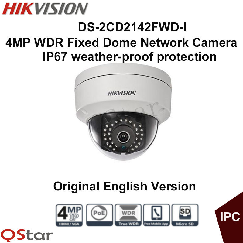 Hikvision Original English Version DS-2CD2142FWD-I 4MP WDR Fixed Dome  IP Camera IP67 1K10 POE CCTV Camera Surveillance Camera free shipping in stock new arrival english version ds 2cd2142fwd iws 4mp wdr fixed dome with wifi network camera