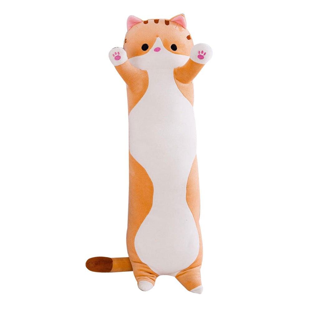 Cute Plush Cat Doll Soft Stuffed Kitten Pillow Doll Toy Gift For Kids Girlfriend Long Cat Doll Plush Toy Lazy Sleeping Pillow HF