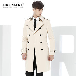 a0ce3ee518a8c URSMART double-breasted men long trench coat male British