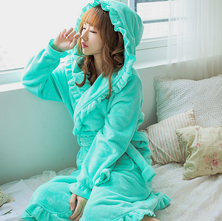 20 Colors Plush robe adult women hooded pajamas long sleeve lovely ruffles sleepwear bath robe gowns with hat Flannel
