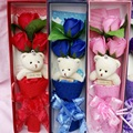 Cute plush mini teddy bear and rose soap flower valentine gift cartoon christmas soft stuffed  toy teddy bear bouquet flower
