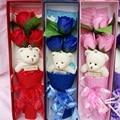 Lindo de la felpa mini oso de peluche y jabón color de rosa de san valentín regalo de navidad de dibujos animados suave peluche de juguete oso de peluche ramo de flores