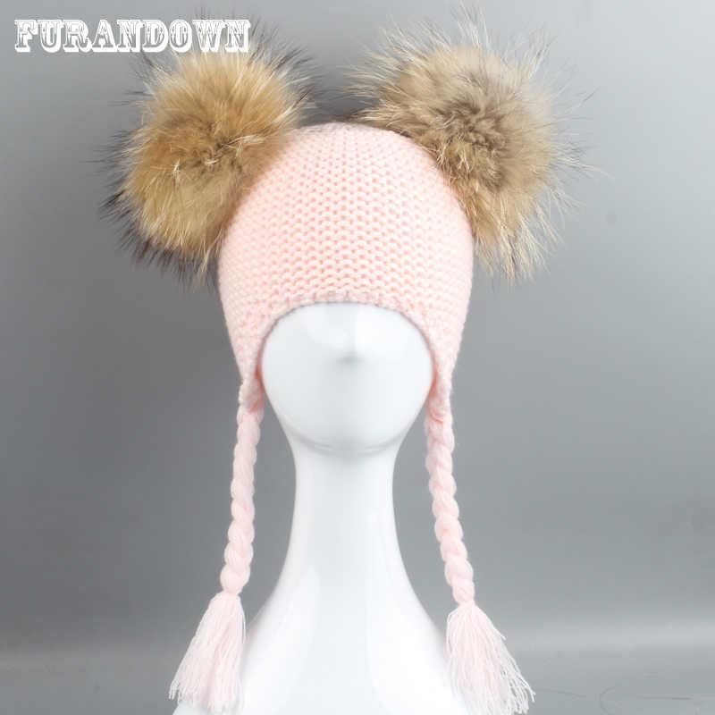Kids Winter Pompom Hat Children Knitted Wool Earflap Cap Girls Boys Double Fur  Pompoms Beanie Braids ec922df12fc4