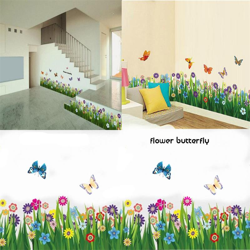 New Arrival Flower Butterfly Grass Wall Sticker Vinyl Art Decal Mural Room Nursery Decor In Stickers From Home Garden On Aliexpress