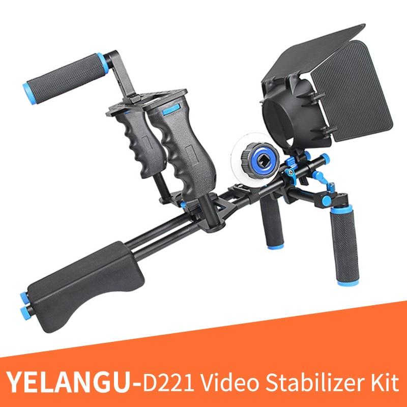 YELANGU D221 DSLR camera cage shoulder mount kit (Including Matter box+Camera cage+Shoulder mount+Follow focus+Gear ring belt)