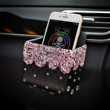 Car Leather Storage Box with Stylist Crystal Rhinestones