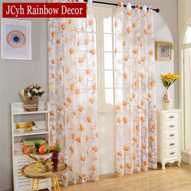 Floral cortinas e cortinas de tule para sala de estar for Visillos de cocina el corte ingles