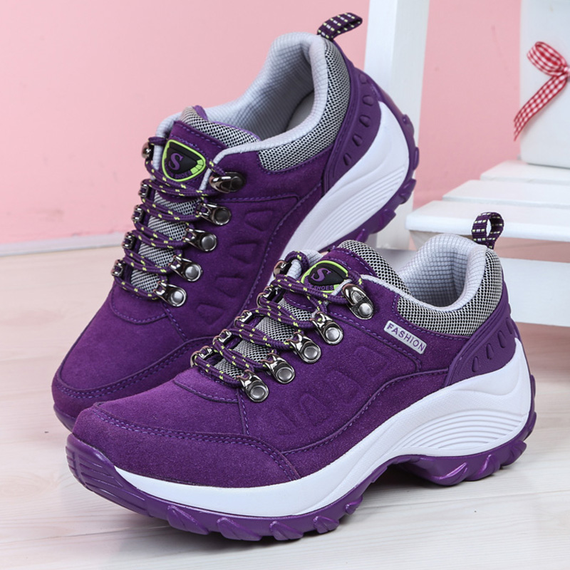 Women Sneakers Autumn Breathable Wedges Platform Vulcanize Shoes Woman Flock Leather Spring Women Casual Shoes Tenis Feminino