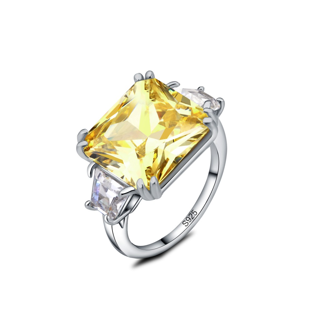 Natural stone Ring Natural yellow crystal Ring S925 sterling silver trendy luxurious big Square women men gift Jewelry Fine Jewe in Wedding Bands from Jewelry Accessories