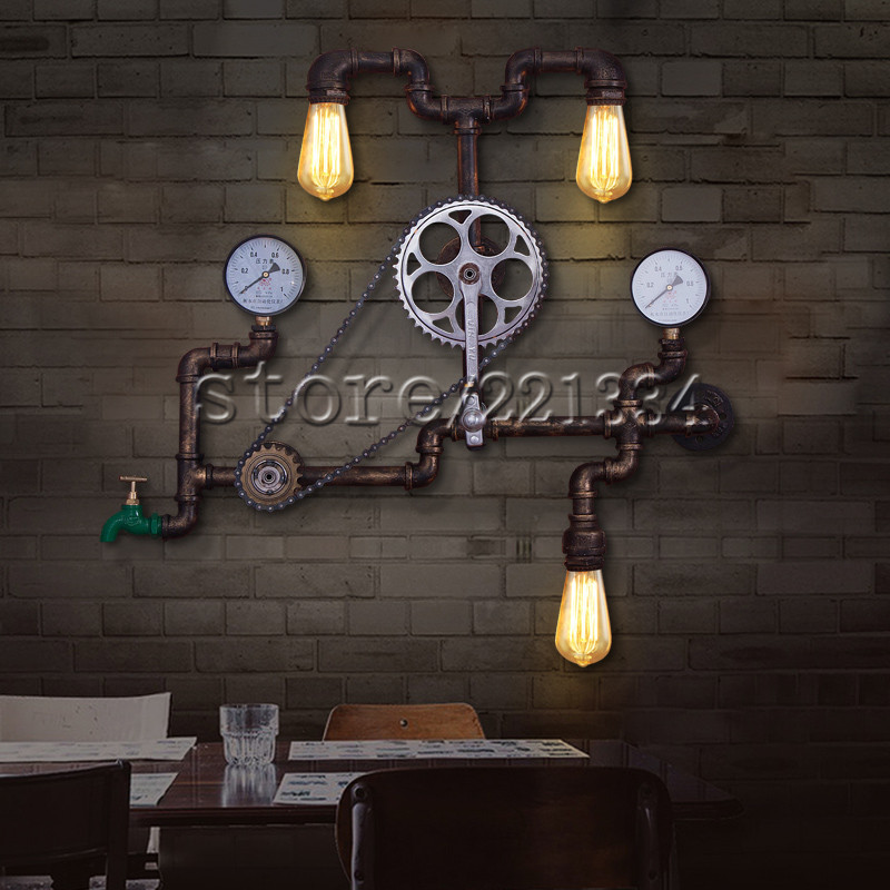 Vintage Loft Wall Lamp Bicycle Chain Iron Lamp Shade Industrial Wall Sconce Luminaire Wall Light Bathroom. Online Get Cheap Vintage Bathroom Light Fixtures  Aliexpress com