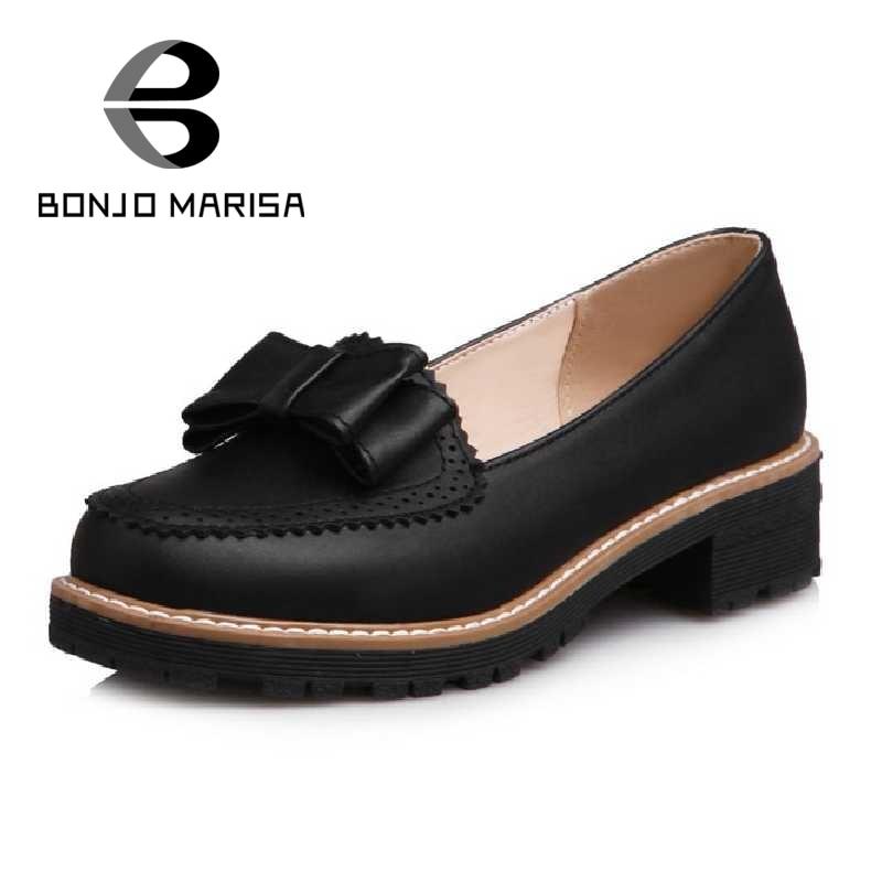 ФОТО BONJOMARISA Bowtie Women Pumps Slip On Chunky Med Heel Round Toe Platform Shoes For Spring Autumn Woman White Pink Blue Black