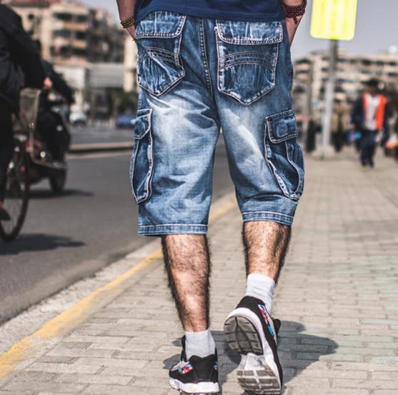 50-130kg Hiphop Denim Baggy Jeans Shorts Men Plus Size Cargo Multi Pocket Shorts Jeans For Men Military Biker Cargo Jeans 30-46