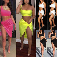 Women Sexy Summer Beach Evening Party Dress Short Skirt Crop Top Two Piece Set