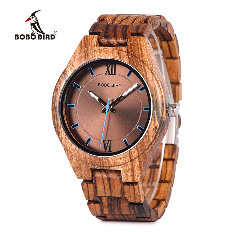 BOBO BIRD Wood Watches Unique Zebrawood y Resina Conbined Case Cuarzo - Relojes para hombres