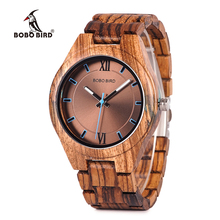 BOBO BIRD Wood Watches Unique Zebrawood y Resina Conbined Case Cuarzo reloj de pulsera de madera C-eQ05