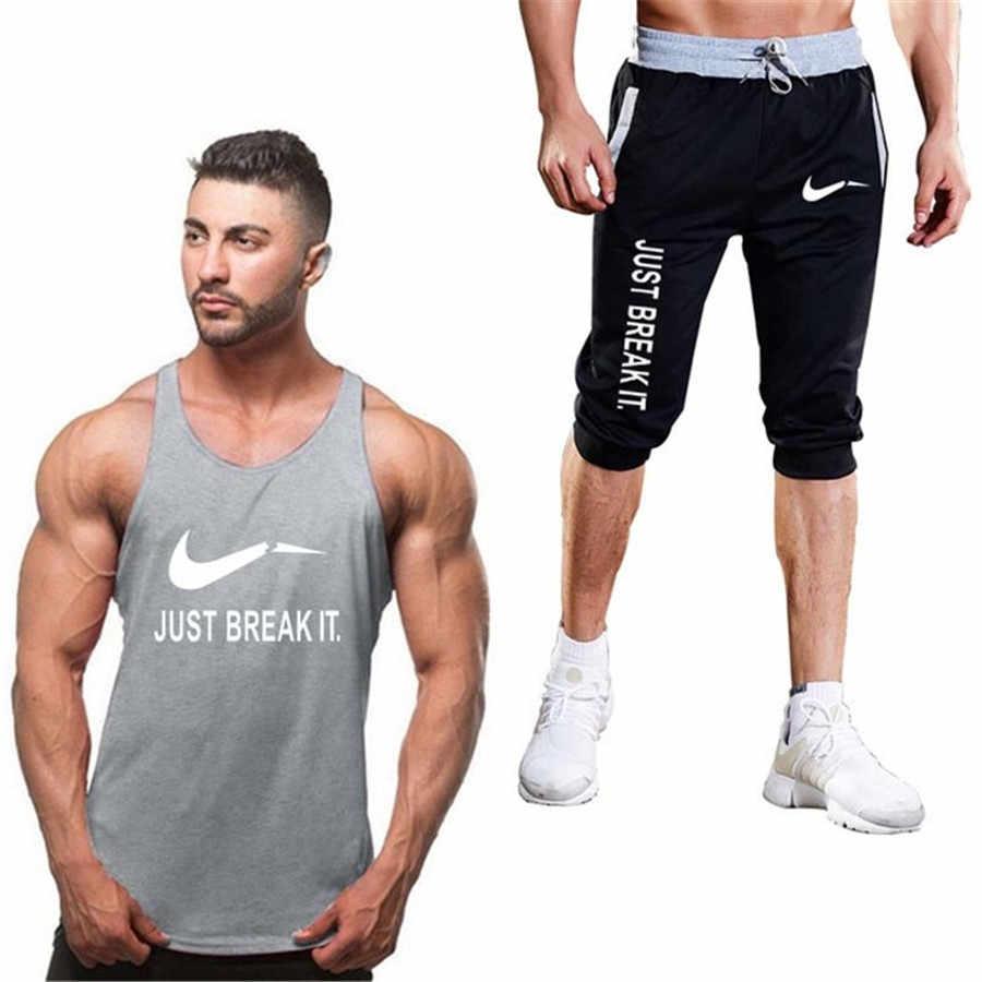 9057d6ee7c7 ... Tracksuits Mens Set 2019 Summer fashion Brand Sportswear Men Shorts Set short  pant+tank top ...