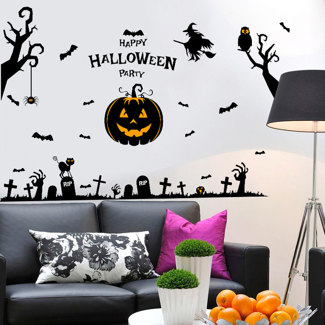 Halloween Pumpkins Vinyl Wall Stickers For Kids Rooms Halloween Pary  Decoration Wall Decals Adesivo De Parede