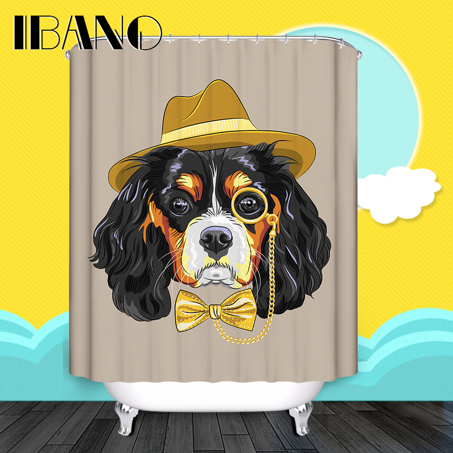 Dog Cartoon Shower Curtains Printing Custom Bath Curtain Waterproof Bathroom Fabric Quality Shower Curtain For Bathroom