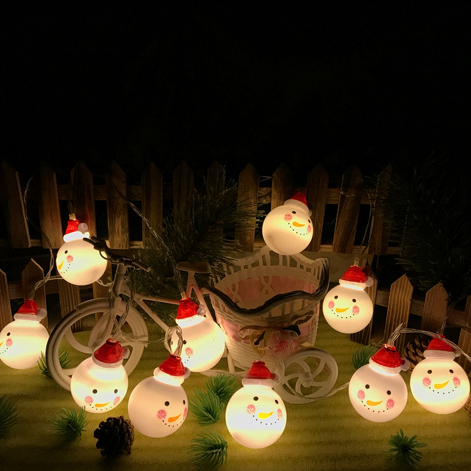 YINGTOUMAN 2018 Snownan With Red Hat Type Battery Lamp 20LED 5M String Light Christmas Holiday Wedding Party Decoration Lighting