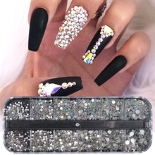 1 Case Nail Rhinestone AB Clear Crystal Strass 3D Nail Charms Flat Back Non Hotfix Gems Flakes Diamond Decoration Manicure BE388 цена