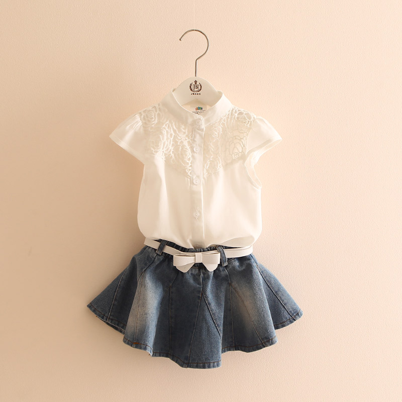 2017 Kids Girl Clothing Set Summer Children's Clothes Child Girls Short Sleeve Tops + Denim Short Skirt baby girls clothings 2017 summer new children baby girl clothing denim set outfits short sleeve t shirt overalls skirt 2pcs set clothes baby girls