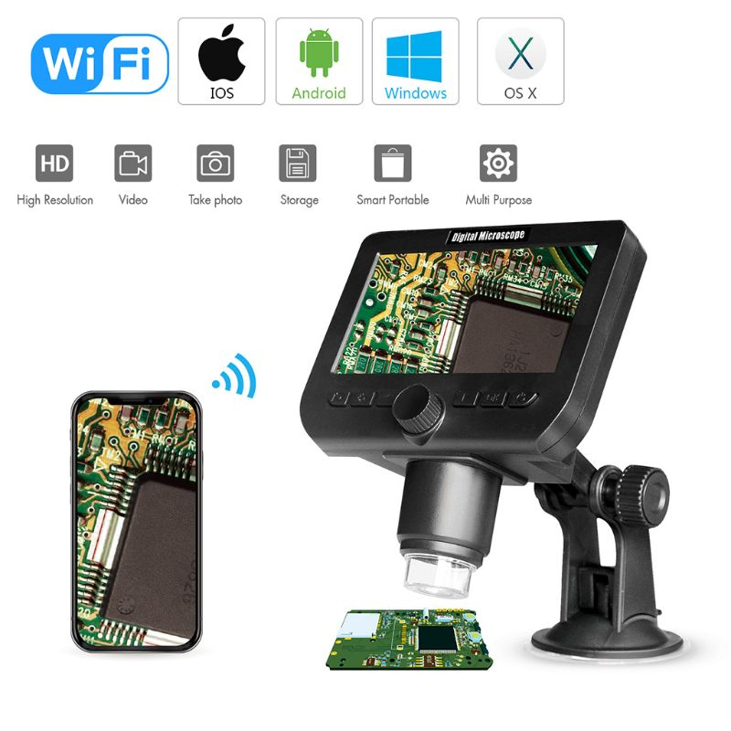 1000x USB Digital Electronic Microscope 4 3 LCD Display VGA Video Wifi Microscope With 8 LED