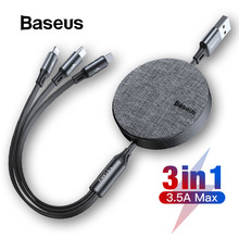Baseus 3 in 1 USB Cable for iPhone XR Xs Max USB Type C Cable for Samsung S10 Xiaomi Mi 9 Charge Cable Micro USB Flexible Cable