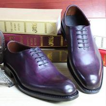 2018 Goodyear Welted Shoes Cow Leather Boss Mens Purple Dress Shoes Italian  Men Suit Shoes Grooms 8e6e91be2c64
