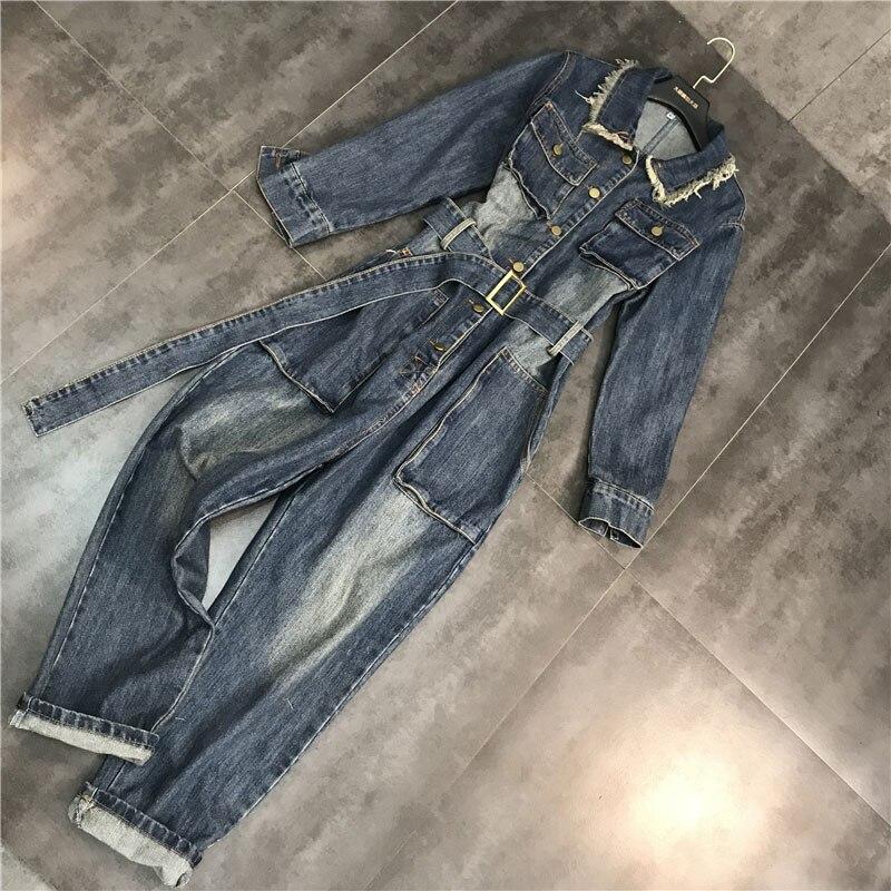 Sauvage Pantalon Barboteuses Lavé Jeans Trou Combinaisons Ty001 Blue De boy Printemps Salopette Ceinture Cow 2019 Denim light Avec Femmes Femelle Blue Décontracté Mode qWW8SZtw