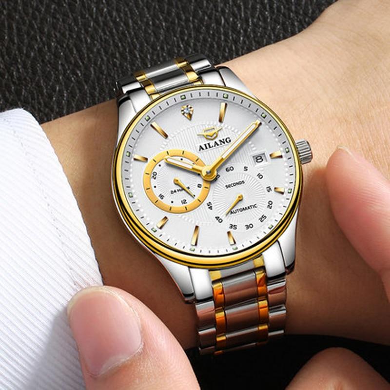 Подлинная Новая мода от ветра автоматические часы мужские стальные и фазы кожа календарь многоцелевой мужские роскошные часы