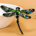 Kawaii Big Dragonfly Brooches Jewelry Brand Crystal Brooch Pin Vintage Brooch Green Big Broches Hijab Pins Up Fashion Women Pin