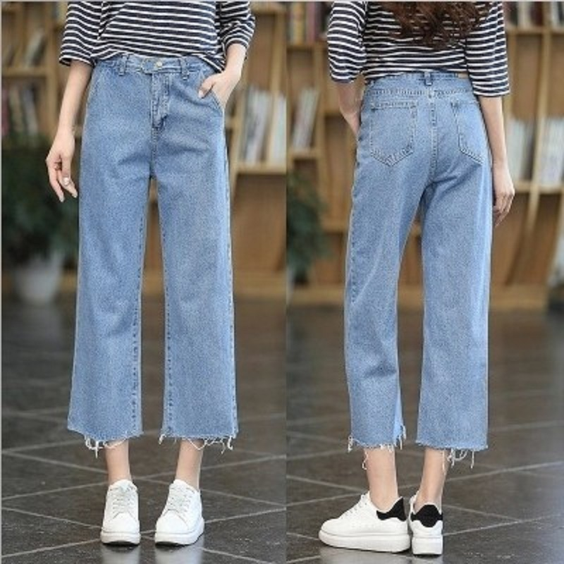 1a8e4615dfad5 Ladies fashion simple ankle-length wide leg denim pants high waist loose  casual harem cropped jeans trousers for women