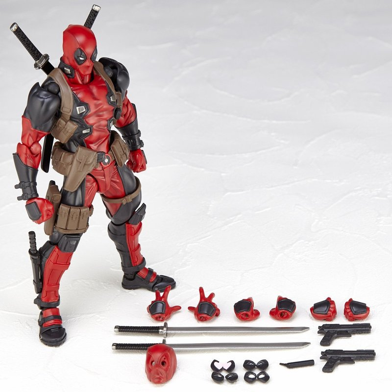 16cm X-Men Deadpool Figure No.001 Variant Movable Super Heroes Action Figures Dead Pool with Weapons Kids DIY Gift Toys figma x man series spiderman figure no 001 revoltech deadpool with bracket no 002 revoltech spider man action figures