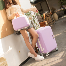 2Pcs Carry-on Suitcase & Make-up Bag Spinner Trolley Units Journey Baggage Common Spinner Wheels for Vacation
