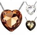 Big Heart Pendant Necklace Long Sweater Chain Necklace Austria Crystal Women Costume Body Jewelry Romantic Heart Necklace Bijoux