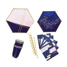 Gratis Verzending 8 Sets Marineblauw Wegwerp Servies Folie Goud Papieren Borden Cups Servetten Voor Baby Shower Verjaardagsfeestje Supplies