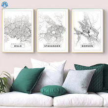 Minimalist Norway City Map Canvas Painting Black and White Pop Poster Print Nordic Wall Art Pictures for Living Room Home Decor
